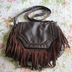 Roxy Boho Fringe Faux-Leather Crossbody Bag